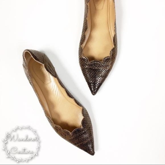 ffec92f4 Chloe Lauren Pointed Toe Scalloped Snakeskin Flats